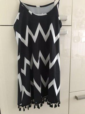 Vestido con flecos negro-blanco