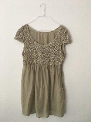 luftiges, leichtes beiges Kleid mit Muster von Marc Aurel aus Baumwolle und Seide