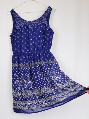 Luftiges Minikleid Boho Kleid Divided H&M Größe S 36 Blau Weiß Cut Out Kurz Tunika Sommerkleid Festival Foulard Muster Folklore