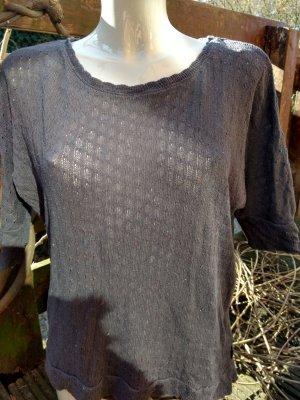 Gehaakt shirt grijs-donkergrijs