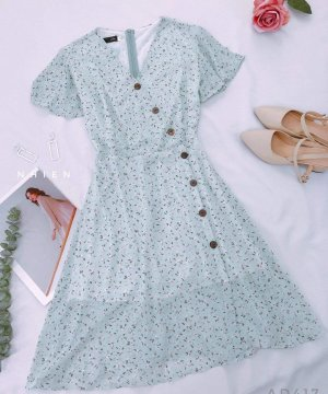 Chiffon Dress baby blue-azure