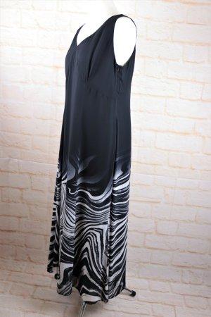 Luftiges Sommerkleid Maxikleid Trägerkleid Größe 42 44 XL Schwarz Offwhite Wellen Muster Chiffonkleid