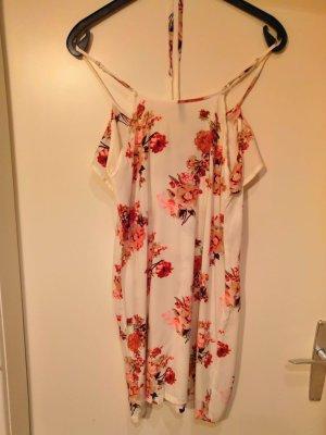 luftiges Sommerkleid mit Blumen-Print in rot/rosa/beige