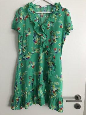 Luftiges Sommerkleid mit Voillant M / L in Smaragd grün Blumen