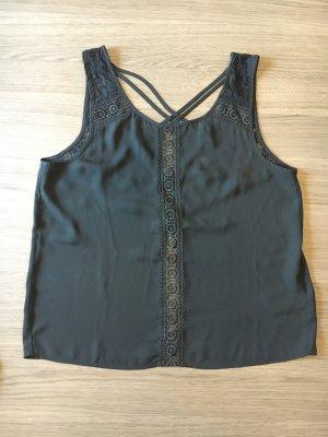 H&M Blusa sin espalda negro tejido mezclado