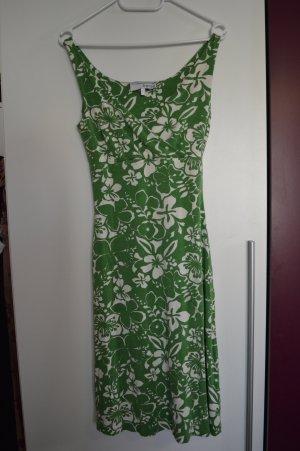 Luftiges strechiges Sommerkleid Gr 36 grün weiss Top