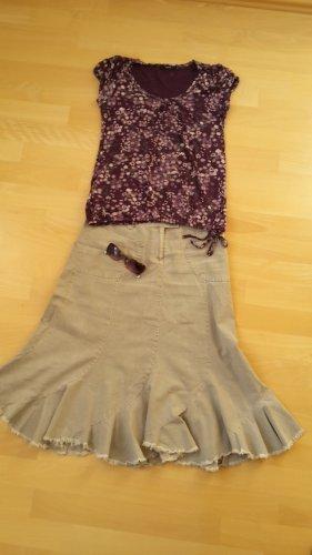 C&A Fringed Skirt oatmeal-beige