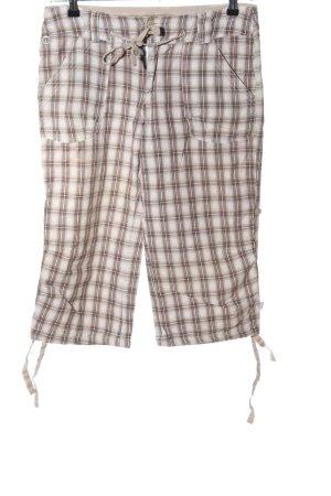 Luhta Pantalon 3/4 blanc cassé-brun motif à carreaux style décontracté