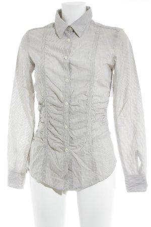 Luis Trenker Hemd-Bluse weiß-graubraun Streifenmuster Business-Look