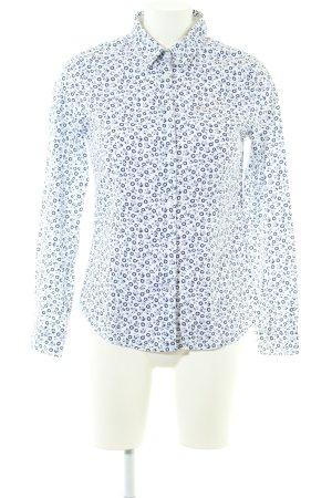 Luis Trenker Langarm-Bluse weiß-blau Blumenmuster Business-Look