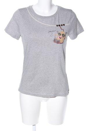 Luis Trenker Print-Shirt hellgrau meliert Casual-Look