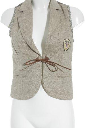 Luis Trenker Gilet bavarois blanc cassé-brun sable tissu mixte