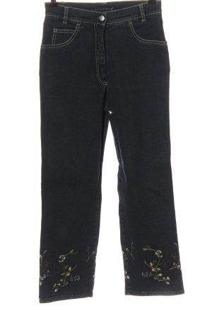 Luisa Cerano Jeans a 7/8 nero motivo floreale stile casual