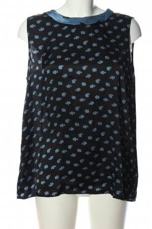 Luisa Cerano ärmellose Bluse schwarz-blau abstraktes Muster Business-Look