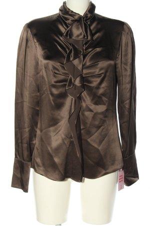 Luisa Cerano Glanzende blouse bruin zakelijke stijl