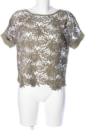 Luisa Cerano Gehaakt shirt khaki bloemenprint casual uitstraling