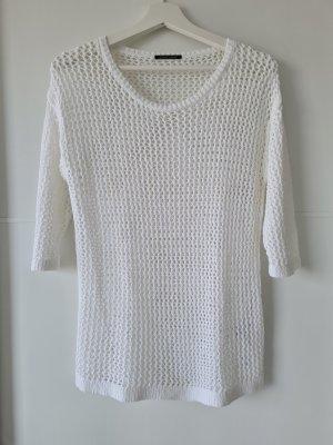 LUISA CERANO Häkelshirt, Netz-Optik, Kurzarm-Pullover, Gr.36, weiß, Baumwolle-Mix