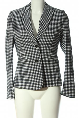 Luisa Cerano Korte blazer zwart-wit geruite print zakelijke stijl