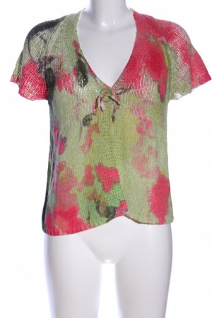 Luisa Cerano Short Sleeve Knitted Jacket khaki-red abstract pattern