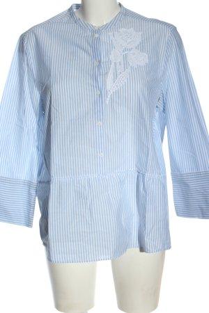 Luisa Cerano Camicetta a maniche lunghe blu-bianco motivo floreale stile casual