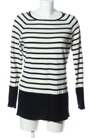 Luisa Cerano Pull long blanc-noir motif rayé style décontracté
