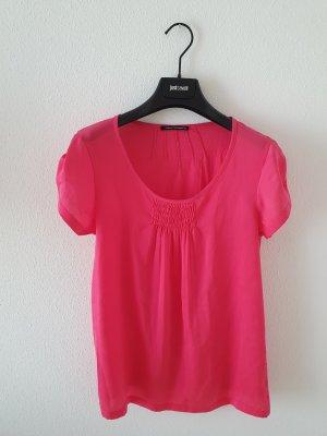 Luisa Cerano Luxus edel pink fuchsia Shirt Top Obrrteil Rundhals Kurzarm