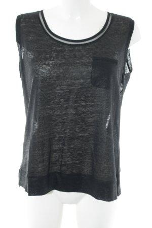 Luisa Cerano Muscleshirt zwart gestippeld casual uitstraling