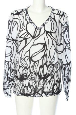 Luisa Cerano Seidenbluse weiß-schwarz Blumenmuster Casual-Look