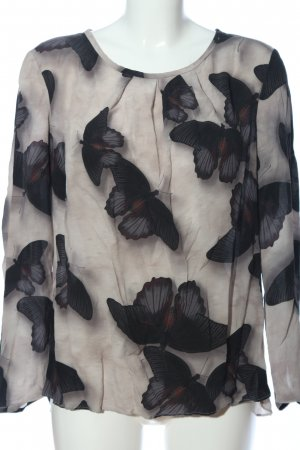 Luisa Cerano Silk Blouse light grey-black allover print casual look