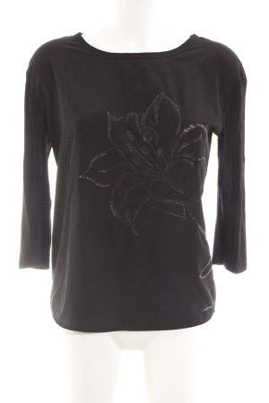Luisa Cerano Seidenbluse schwarz Blumenmuster Glanz-Optik