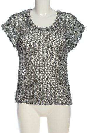 Luisa Cerano Maglione lavorato a maglia argento punto treccia elegante
