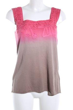 Luisa Cerano Gebreide top roze-bruin kleurverloop casual uitstraling