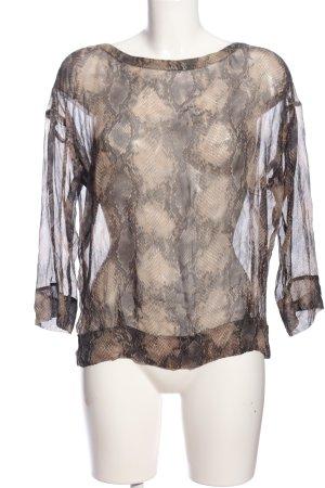 Luisa Cerano Transparenz-Bluse braun-creme Allover-Druck extravaganter Stil
