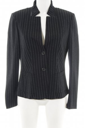 Luisa Cerano Wollen blazer zwart-zilver gestreept patroon zakelijke stijl