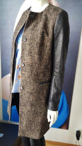 Luisa Cerano Wełniany płaszcz czarny-szaro-brązowy Wełna