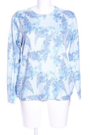 Luisa Loire Rundhalspullover weiß-blau Allover-Druck Casual-Look