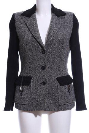 Luisa Spagnoli Woll-Blazer weiß-schwarz Webmuster Casual-Look