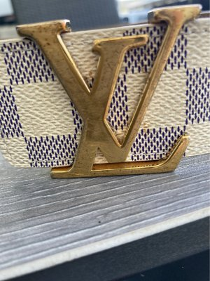 Louis Vuitton Leather Belt light grey-natural white