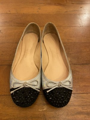 Foldable Ballet Flats silver-colored-black leather
