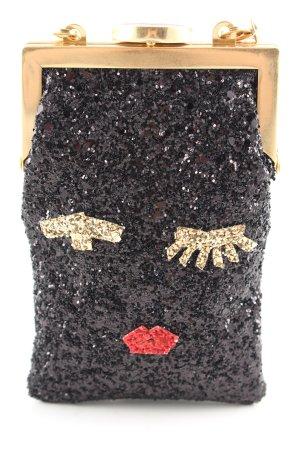 Lulu Guinness Minitasche schwarz-goldfarben Motivdruck extravaganter Stil