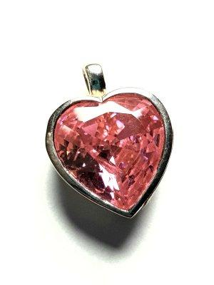Lumani Herz Silber Anhänger - Rosa Zikonia - Neu - 925er Silber