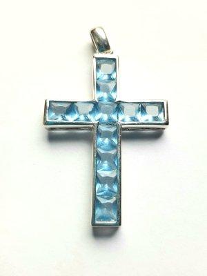 Lumani Kreuz Silber mit blauem Zirkonia - L - Neu