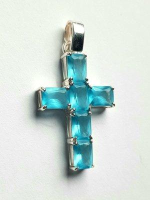 Lumani Kreuz Silber mit hellblauen Zirkonia  - M - Neu