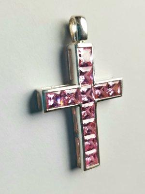 Lumani Kreuz Silber mit rosa Zirkonia  - L -  Neu