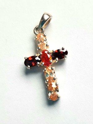 Lumani Kreuz Silber mit rot/orangem Zirkonia - Small - Neu