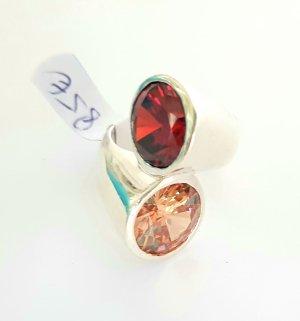 Lumani Silber Ring XL geschwungen - Rot Orange Zikonia - Gr 60 - NEU - 925er