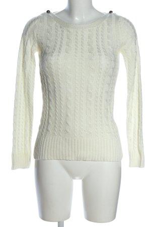Warkoczowy sweter w kolorze białej wełny Warkoczowy wzór W stylu casual