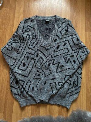 Lupo Sweter z grubej dzianiny biały-szary