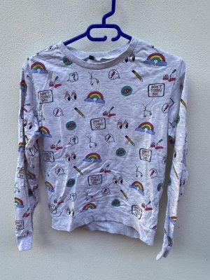 Lustiges Langarmshirt mit Regenbogen und Emoji Print