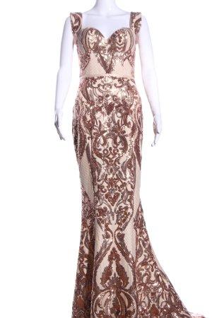 Luxe Abendkleid creme-braun Allover-Druck Elegant
